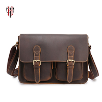 TIANHOO business man bags genuine leather bag shoulder messenger crazy horse leather briefcase for work casual mens setchels