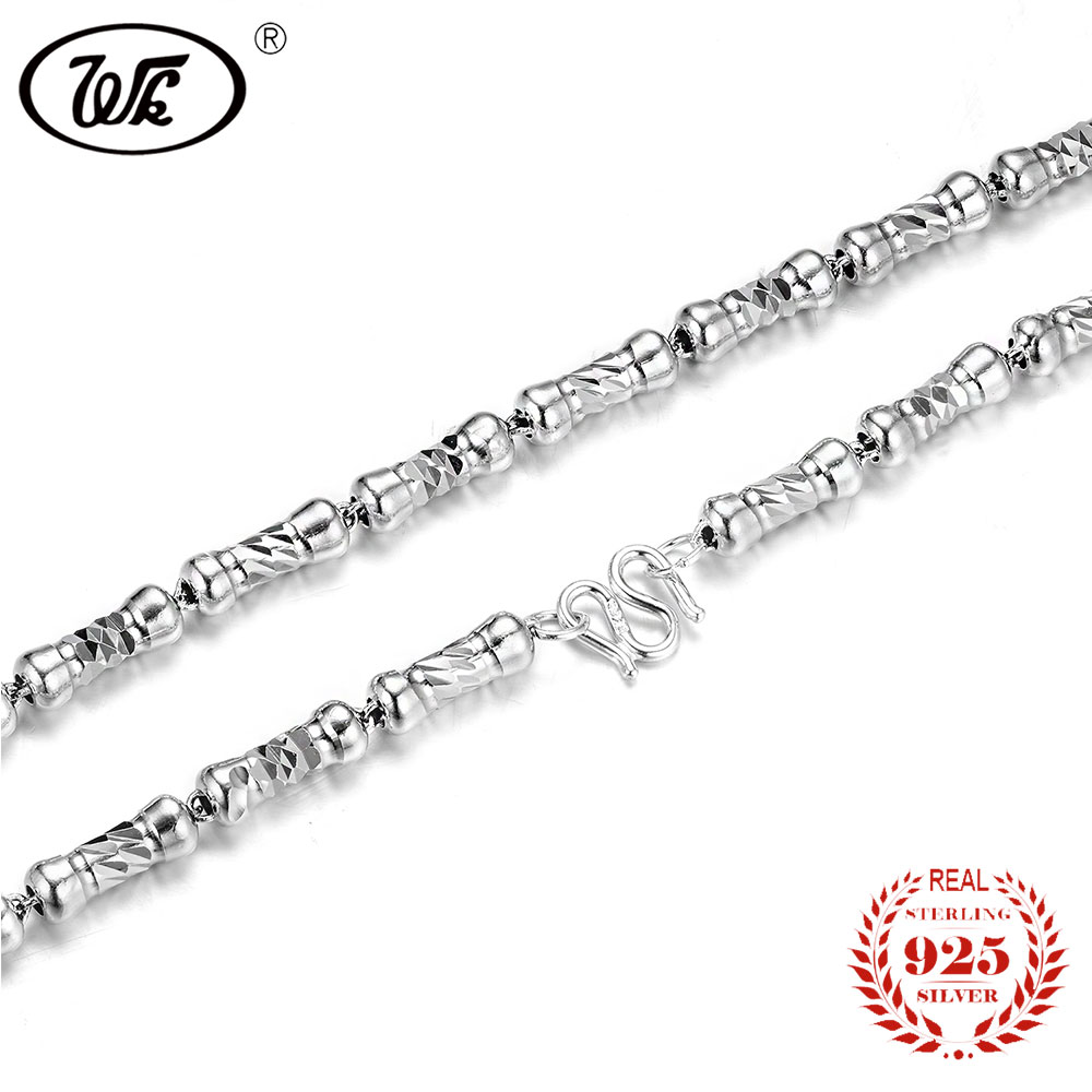 WK NEW Designer Bone Style 925 Sterling Silver Men Necklace Chain 50cm 20 Inch 5MM Thick Mens Necklaces Jewelry Gift W1 NM004 solid silver 925 bold link chain necklace for mens 5mm thick chunky necklace simple style 100