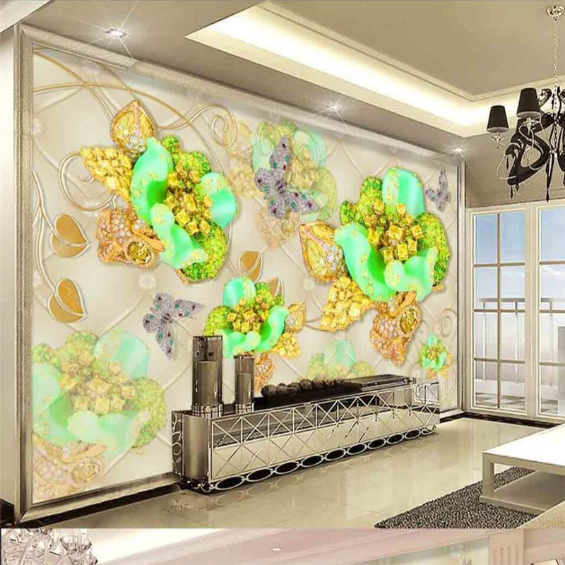 Beibehang 3D Luxury Luxury Gold Diamond Flower Soft Bag Jewelry Background Wall Custom Large Fresco Green Wallpaper
