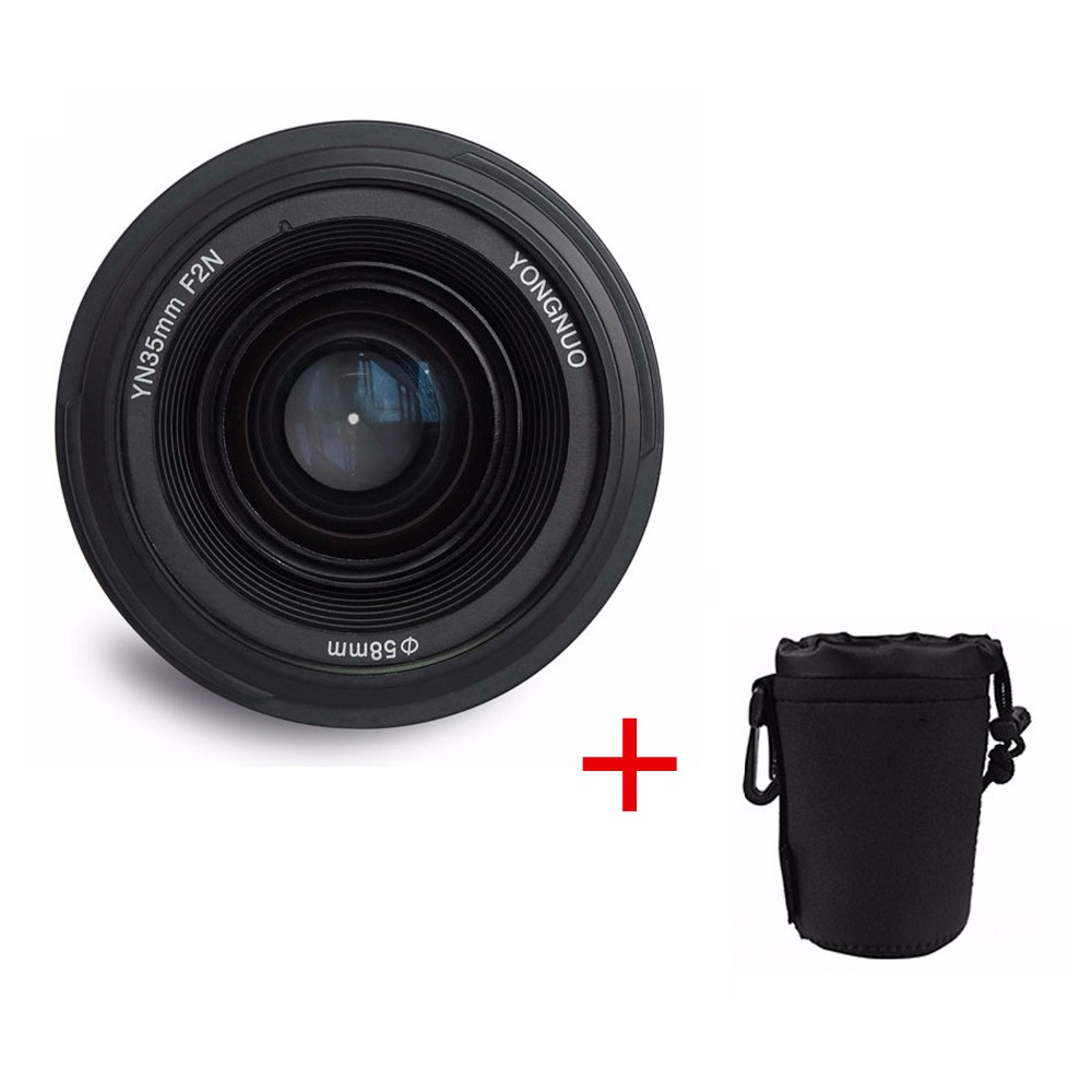 Yongnuo YN35mm F2N lens Wide-angle Large Aperture Fixed Auto Focus Lens + lens bag For Nikon Camera original yongnuo camera lens 35mm f2 for nikon large aperture auto focus lens for nikon 7000 d5100 d5000 d3100 d3000 d60