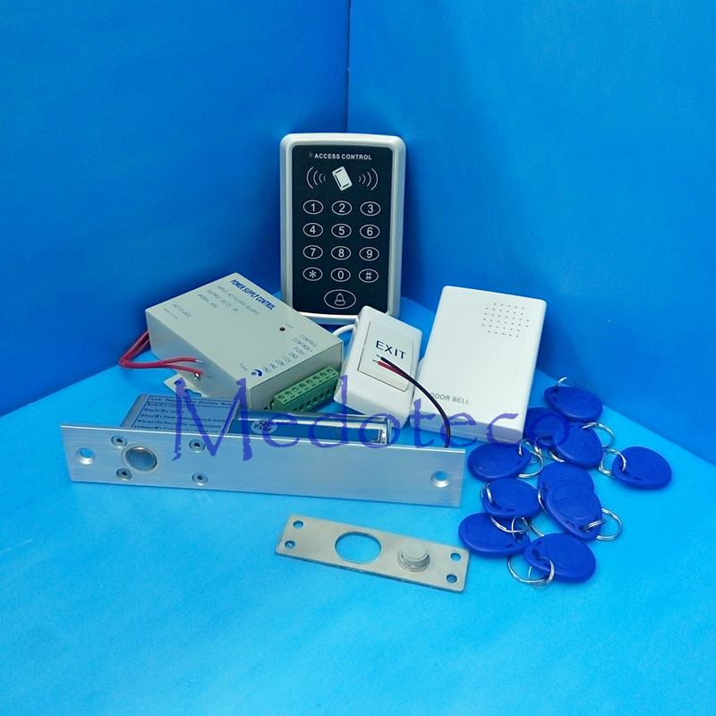 Full Rfid Door Access Control System 125Khz Rfid Card Wooden Door Access Control System Kit +Electric Bolt Lock & Power Supply