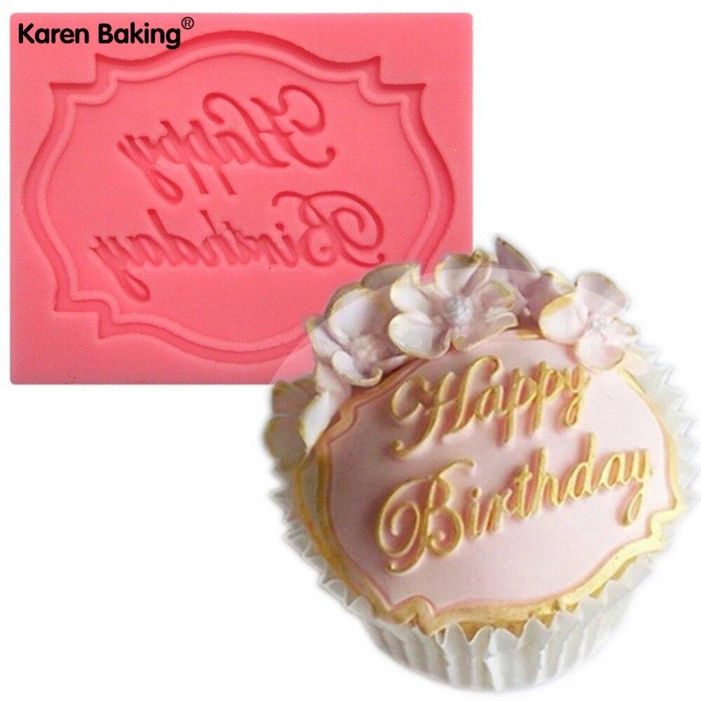 Happy Birthday Cake Card Shape Decorating Fondant Cake Molds