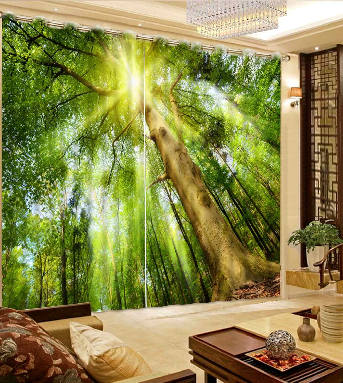 photo print curtains Sunshine forest living room girls curtains for bedroom Home Decoration