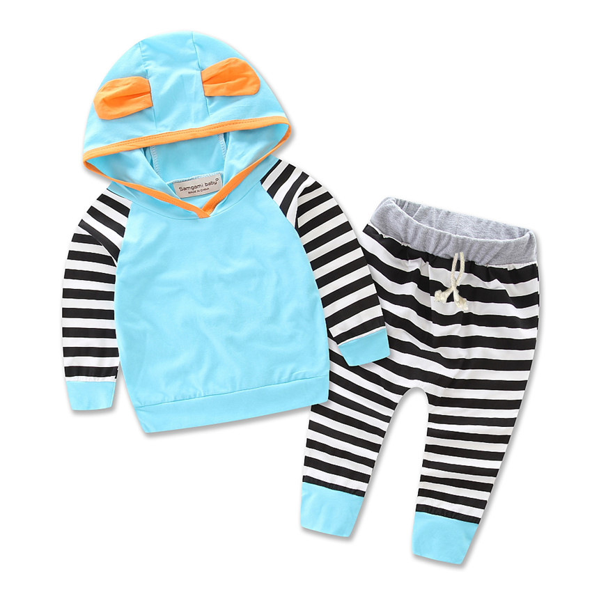 SAMGAMI BABY Baby Girls Clothes Fashion Striped Hoodie Tops T-shirt+Cotton Pants 2pcs suit newborn baby boys girls clothing sets