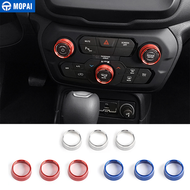 MOPAI Car Interior Air Conditioning Audio CD Adjustment Button Decoration Ring for Jeep Renegade 2018 Up Car Styling
