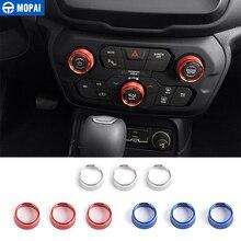 MOPAI voiture intérieur climatisation Audio CD réglage bouton décoration anneau pour Jeep Renegade 2018 Up voiture style