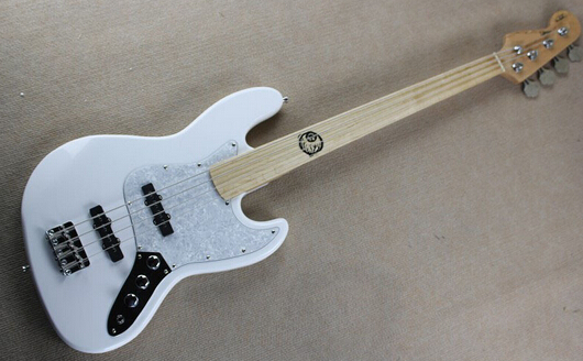 guitar factory New custom fretless Maple Fretboard jazz 4 strings white bass guitar reversed headstock free shipping 1 2 top quality black color 4 bass electric guitar strings 2018 china low hot guitar factory sale free shipping