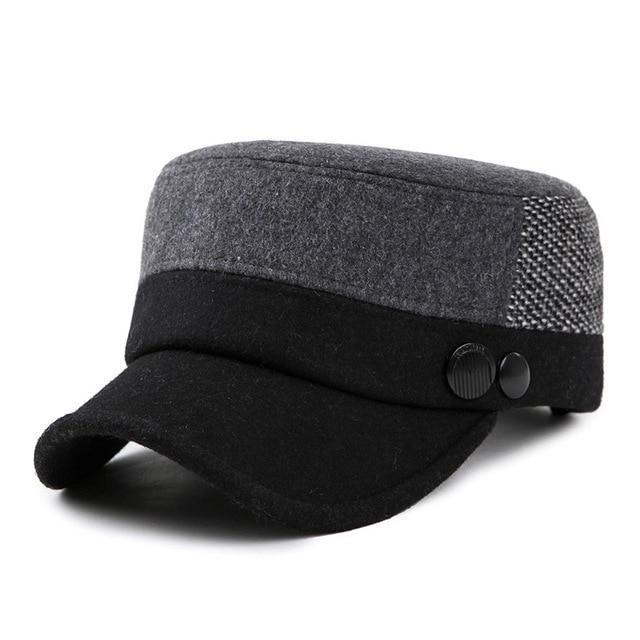 Wuaumx Wholesale Autumn Winter Military Cap For Men Keep Warm Woolen Flat  Top Cap Military Hat 315d9ef68c1