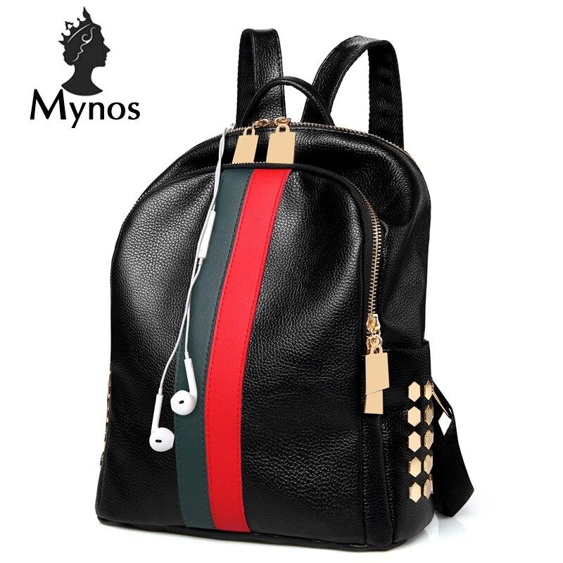 MYNOS Luxury Brand Designer Women Leather Backpack Casual Backpack Bag Teenager School Travel Back Pack Mochila Escolar Militar