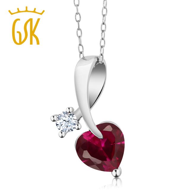Gemstoneking 1.51 ct forma vermelha do coração criado rubi 925 sterling silver pendant necklace para mulheres