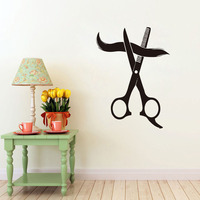For Hairstyle Shop Wall Sticker Scissors Cutting Hair Art Decals Waterproof Self Adhesive Wall Paper