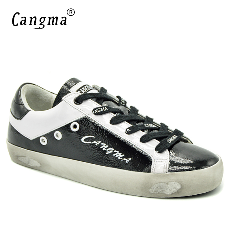 CANGMA Italian Deluxe Sneakers Women Shoes Autumn Handmade Brand Black Patent Leather Low Flats Vintage Shoes Girls Scarpa 34-48 glowing sneakers usb charging shoes lights up colorful led kids luminous sneakers glowing sneakers black led shoes for boys