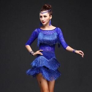 Image 4 - New 2018 Women Competition Dance Clothes Sequins Costume Set Fringe Salsa Dresses Ballroom Dance Ladies Latin Dress