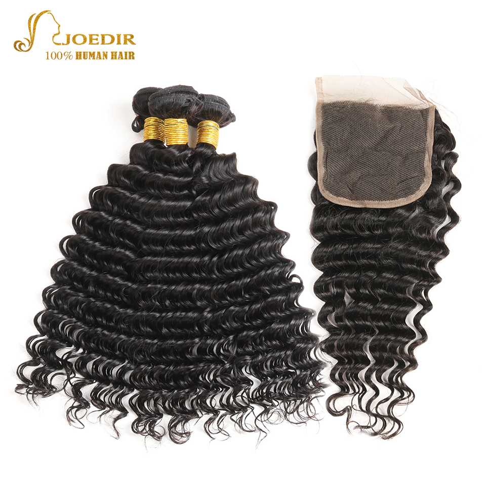 Joedir Malaysian Deep Wave 3 Bundles With Closure Human Hair Bundles With Lace Closure 4X4 Non Remy Hair Extensions Free Ship