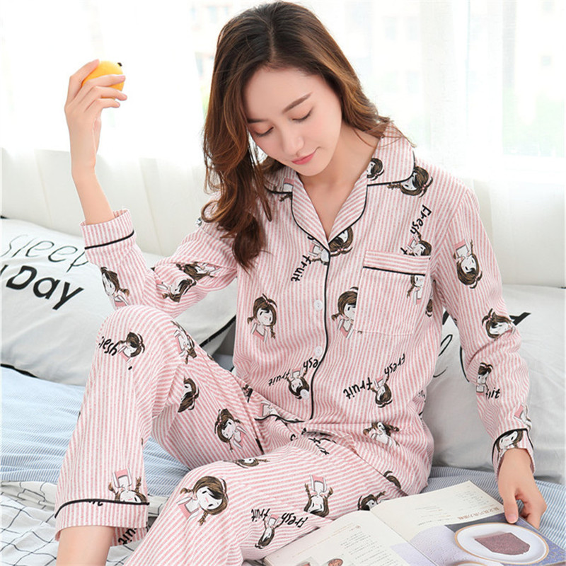 Foply Women Cartoon Print Sleepwear   Pajamas   Long Sleeve shirts+ Long Pants Two Pieces Turn-down Collar Casual Loose   Pajama     Set