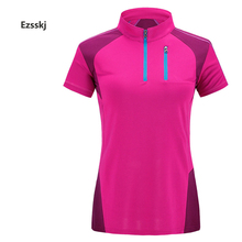 2017 Women Short Sleeve Breathable Collar Polo Shirts Ourdoor Hiking Overalls Pullovers Stretch Blouse Tops