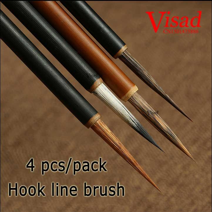 VISAD Chinese calligraphy brush weasel multiple hair Hook line brush pen set for artist painting calligraphy 4pcs/pack italic nib art fountain pen arabic calligraphy black pen line width 1 1mm to 3 0mm