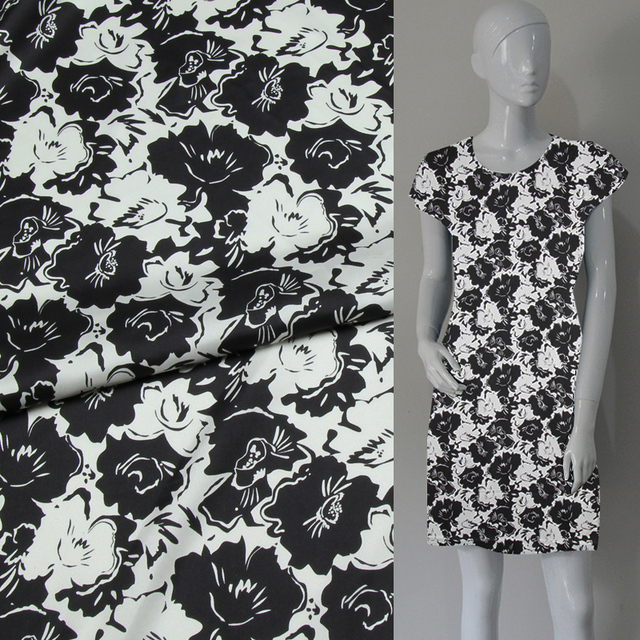 01565b29ebcb2 US $14.82 43% OFF Fashion white and black floral print pure silk twill silk  fabric 15momme,STW085-in Fabric from Home & Garden on Aliexpress.com   ...