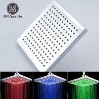 Free Shipping LED Color Changing Bathroom 8 Square Rain Bathroom Shower Head Chrome Finish