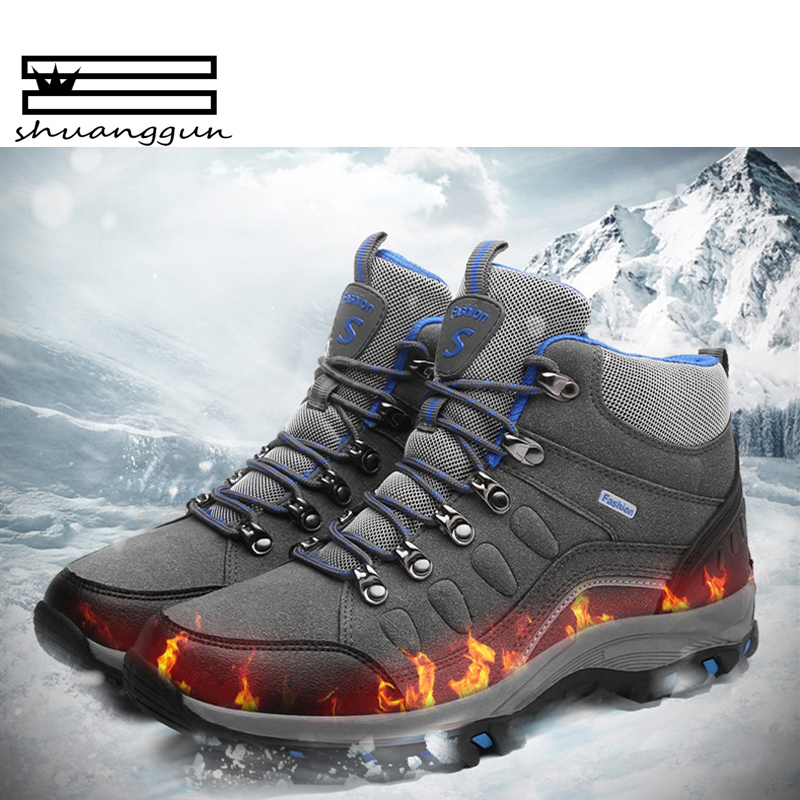 SHUANGGUN 2018 New Style Men boots Men s Winter Shoes Fashion Snow Boots  Shoes Ankle Men Shoes Winter Boots Warm Size 35 46 -in Snow Boots from Shoes  on ... 9f49949e8c9c