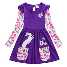 Girl long Dresses Toddler Baby 2019 New Autumn Spring Dress Cartoon Embroidered Girls Long Sleeve Unicorn 81036