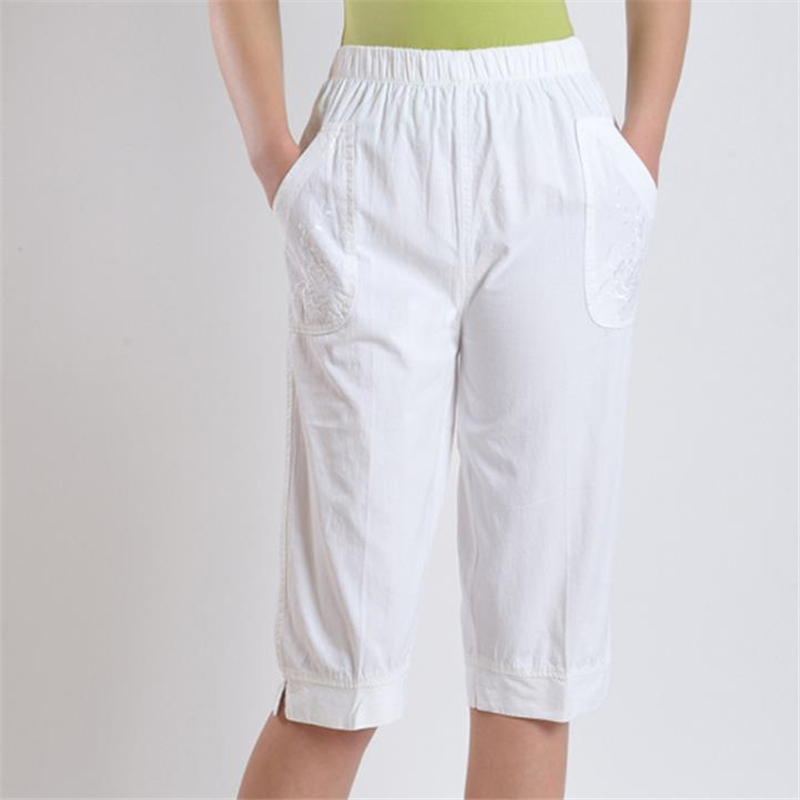 Plus Size High 100% Cotton Calf-length Pants Summer Thin Trousers Female Oversized Loose Breathable Capris Pantalons Pantacourt
