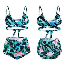 Womens Sexy Two Piece Bikini Set Deep V-Neck Criss Cross Bandage Wrap Front Swimsuit Boho Colored Floral Printed High Waist Tumm