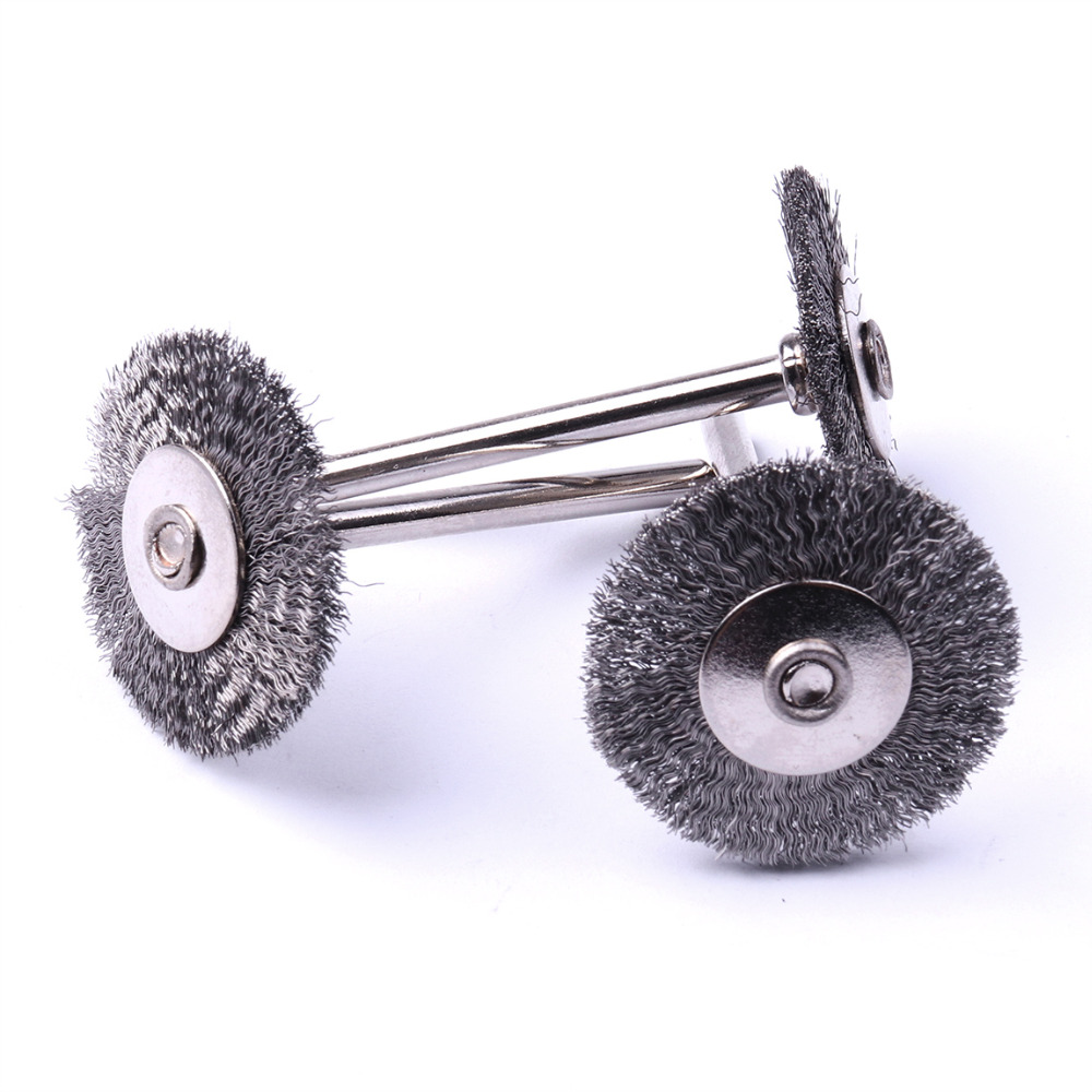 Wholesale 2pcs/Set 25mm Brush diameter Carbon Steel Wire Brush Wheel Brushes Dremal Rotary Tools for Cleaning & Removing Rust