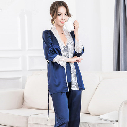 High Grade Women Fashion   Pajamas   Sleepwear Long Sleeve Lace Trim Robe+Cami Top+Trousers 3PCS   Pajama     Sets   Female Sexy Sleep Wear