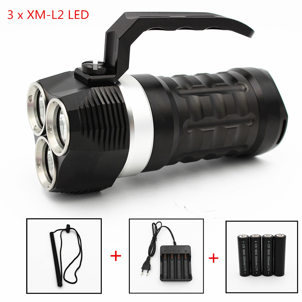 4000LM Diving LED Flashlight 3 x XM-L2 Waterproof Lantern Searchlight 3 Mode Camping Portable Spotlight Handheld Night Light singfire sf 806b 30 led 90lm 1 mode white camping lantern black 3 x 14500 3 x aa