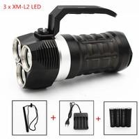 4000LM Diving LED Flashlight 3x XML L2 Waterproof Lantern Searchlight 3 Mode Camping Portable Spotlight Handheld