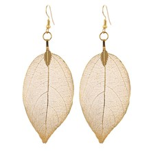Fashion Earrings Unique Natural Real Leaf Big Earrings For Women Fine Jewelry Gift