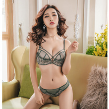 Sexy hollow out women lace transparent lingerie suits deep v adjustable wireless seamless bra and panty set ladies underwear