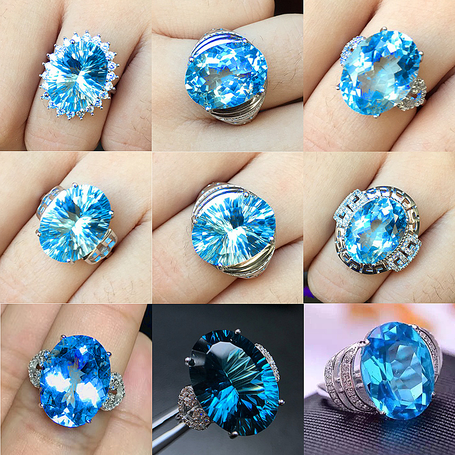 [MeiBaPJ 9 Styles Perfect 12 Carats Big Natural Blue Topaz Gemstone Simple Ring for Women Real 925 Sterling Silver Fine Jewelry hot pink apple shaped makeup brush cleaner