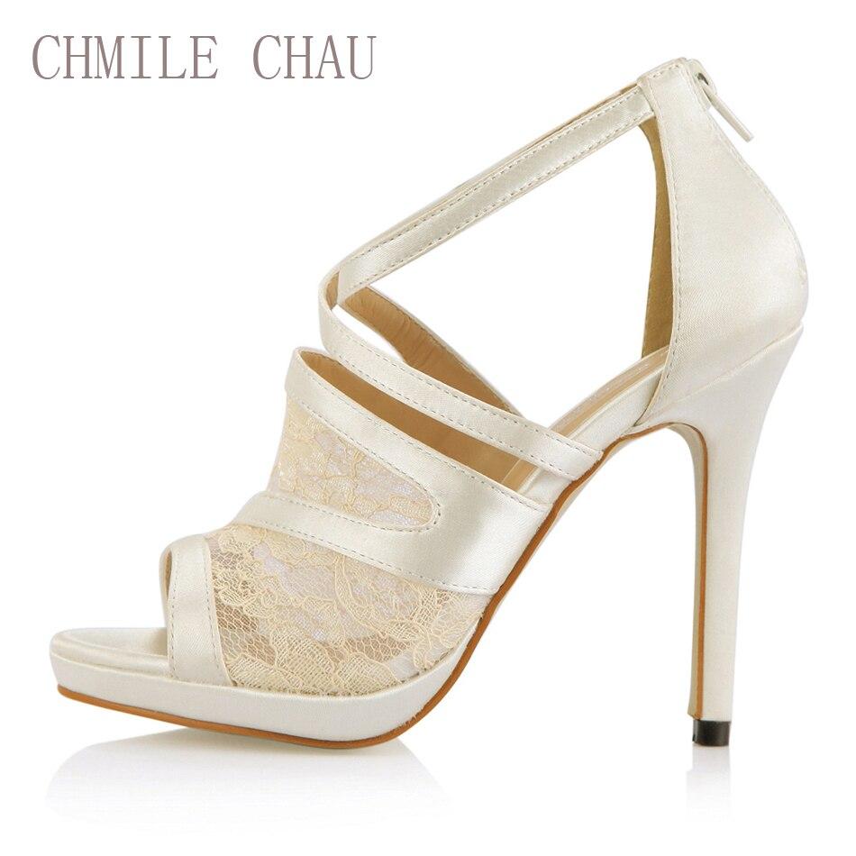 CHILE CHAU Marfil Satinado Elegante Nupcial Zapatos Del Banquete de Boda Mujeres Peep Toe Tacones Altos Delgados Bombas Zapatos Mujer 0640A-14a
