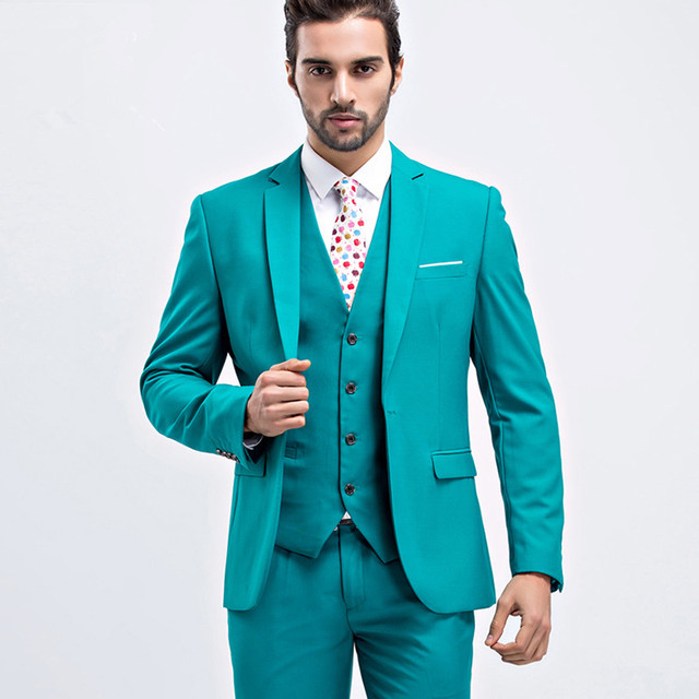 2017 Latest Coat Pant Designs Green Men Suit Slim Fit Skinny 3 Piece ...