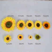 10pcs 7cm/17cm/26cm Large Silk Sunflower Artificial Flower Head For Wedding Decor Handmade Scrapbooking Accessories Fake flowers