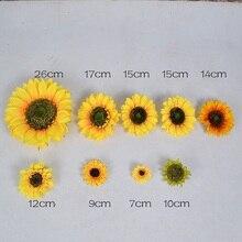 10pcs 7cm/17cm/26cm Large Silk Sunflower Artificial Flower Head For Wedding Decor Handmade Scrapbooking Accessories Fake flowers