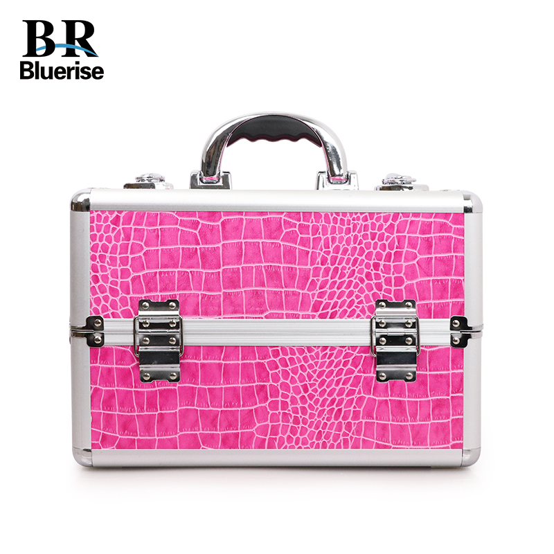 Beauty Case Storage Luggage Makeup Tools Nail Art tools Box Cosmetics Accessories Kits Bags Hot Pink Crocodile Pattern Portable