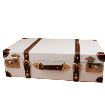 Euro New Style Suitcase Vintage Wooden Storage Box Classic Antique Luggage Photography Props Window Display Box