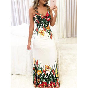 Summer Women Lady Sexy Sleeveless Strap Deep V-neck Long Maxi Evening Party Elegant Dress Sundress
