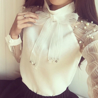 Women Casual Chiffon Shirt Spring Autumn Elegant Organza Bow Of Pearl White Blouse RT5