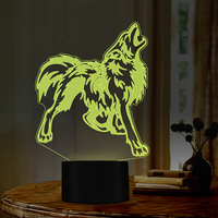 wolf howling design Night Lamp 7 Colors decor for room as great gift for wolf lovers friend birthday gift USB port