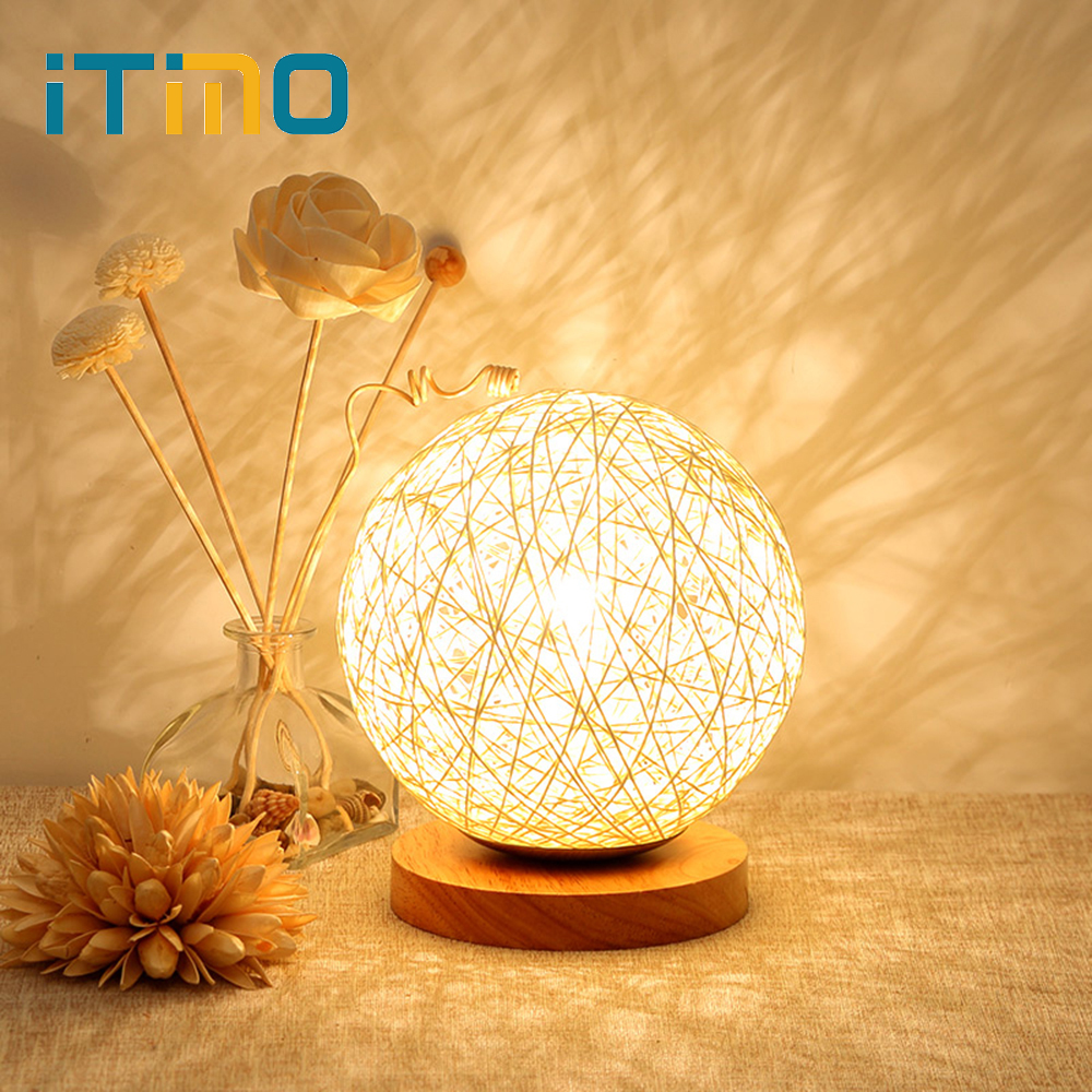 ITimo US Plug Wood Rattan ball Design LED Night Light For Bedroom Decoration With E27 Bulb Table Desk Lamp itimo wireless led bulb with remote control dimmable 220v e27 home indoor lighting night light us plug bedroom light lamp