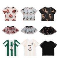 2018 весна лето Bobo choses Детские футболки комплект одежды из 2 предметов Одежда для маленьких девочек детская одежда юбки-пачки фамиль
