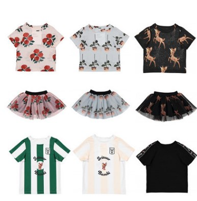 2018 SPRING SUMMER BOBO CHOSES KIDS T SHIRTS 2 PCS CLOTHING SETS BABY GIRL CLOTHES GIRLS CLOTHING KIDS CLOTHES tutu skirts famil
