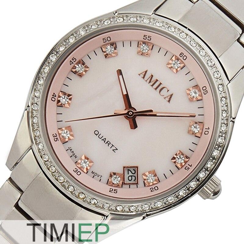 AMICA Women Dress Watches Pink Dial Women Rhinestone Watches Ladies Full Steel Watch часы amica