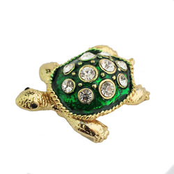 YAFFIL Jewelry Box Zinc Alloy Retro Jewelry Box Carrying Cases Animal Turtle Pattern Crystal Rhinestone Box For Christmas Gift