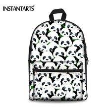 Instantarts eomji панда печати Рюкзаки Для женщин Повседневное женские рюкзаки Mochila милый холст Сумки на плечо для подростков Обувь для девочек