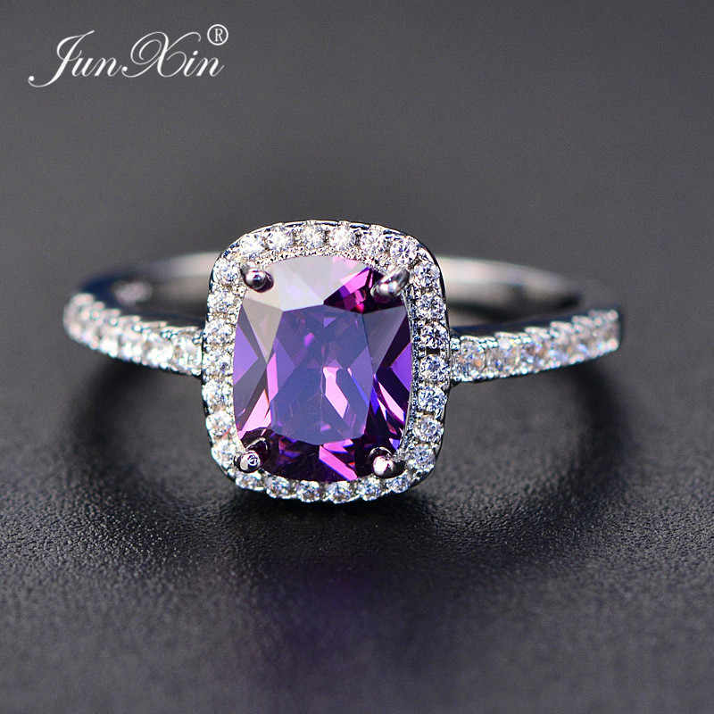 JUNXIN Simple Male Female Blue/Green/Purple Zircon Stone Ring Fashion Fire Opal Rings For Men And Women Vintage Wedding Ring